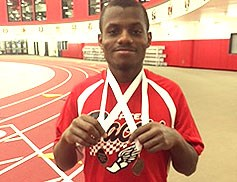 A showing his 2 Special Olympics metals