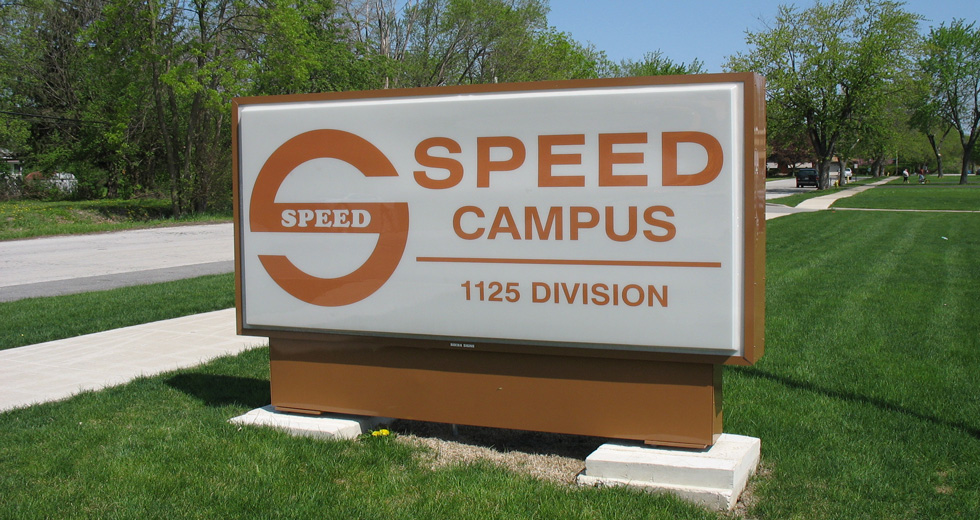 An image or a sign that says SPEED Campus 1125 Division Street