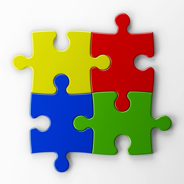 4 different color puzzle pieces
