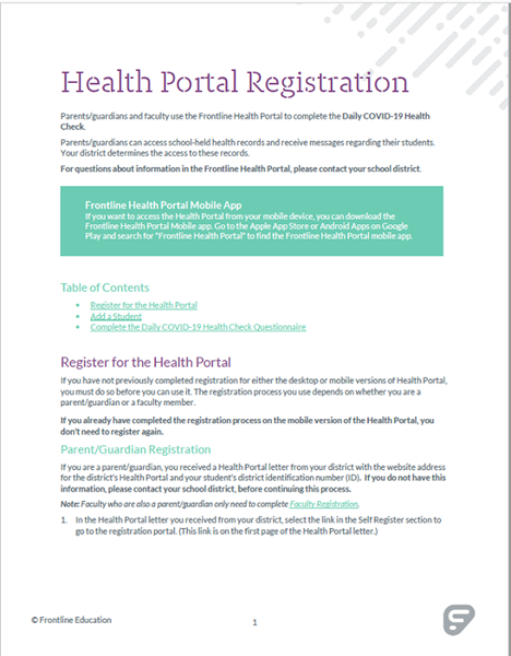 Health Portal Registration