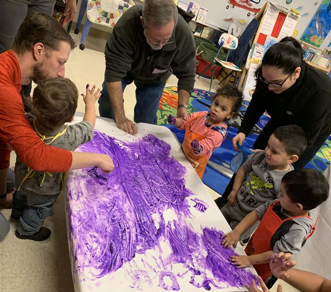 Children finger painting